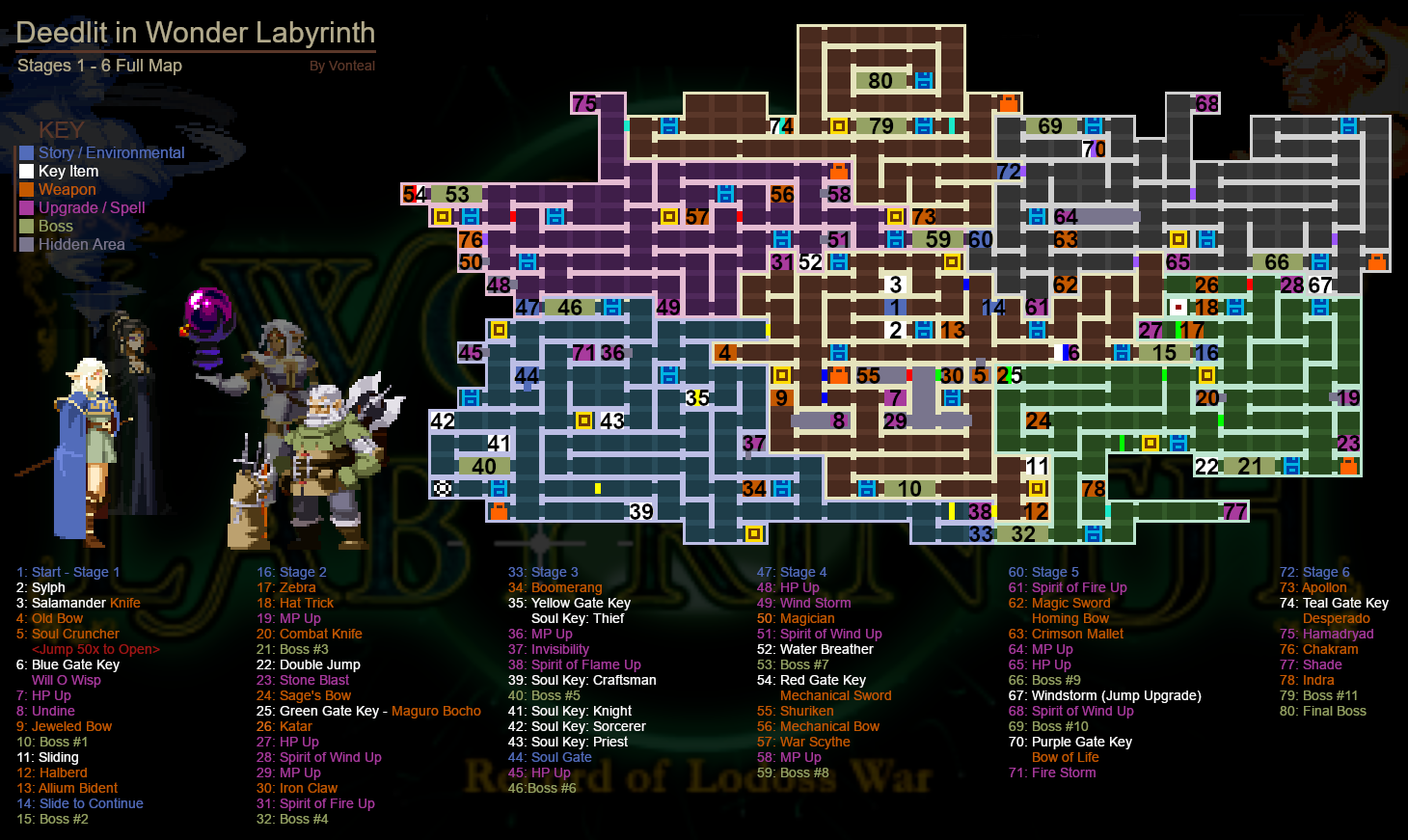 Record of Lodoss War-Deedlit in Wonder Labyrinth- - DiWL 100% Map/Guide/Tips/Drops