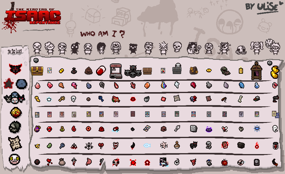 The Binding of Isaac: Rebirth - Character Completion Marks - Tainted Marks