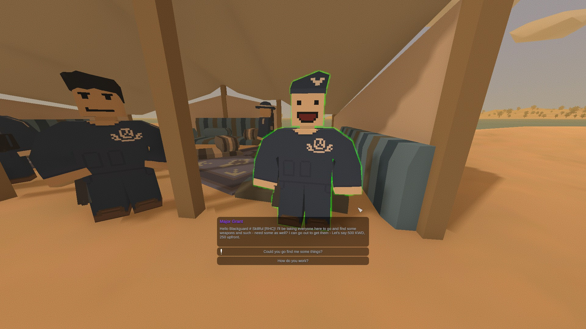 Unturned - Kuwait Major Questlines Guide - Major Grant (and the Troops at the Shore Camp)