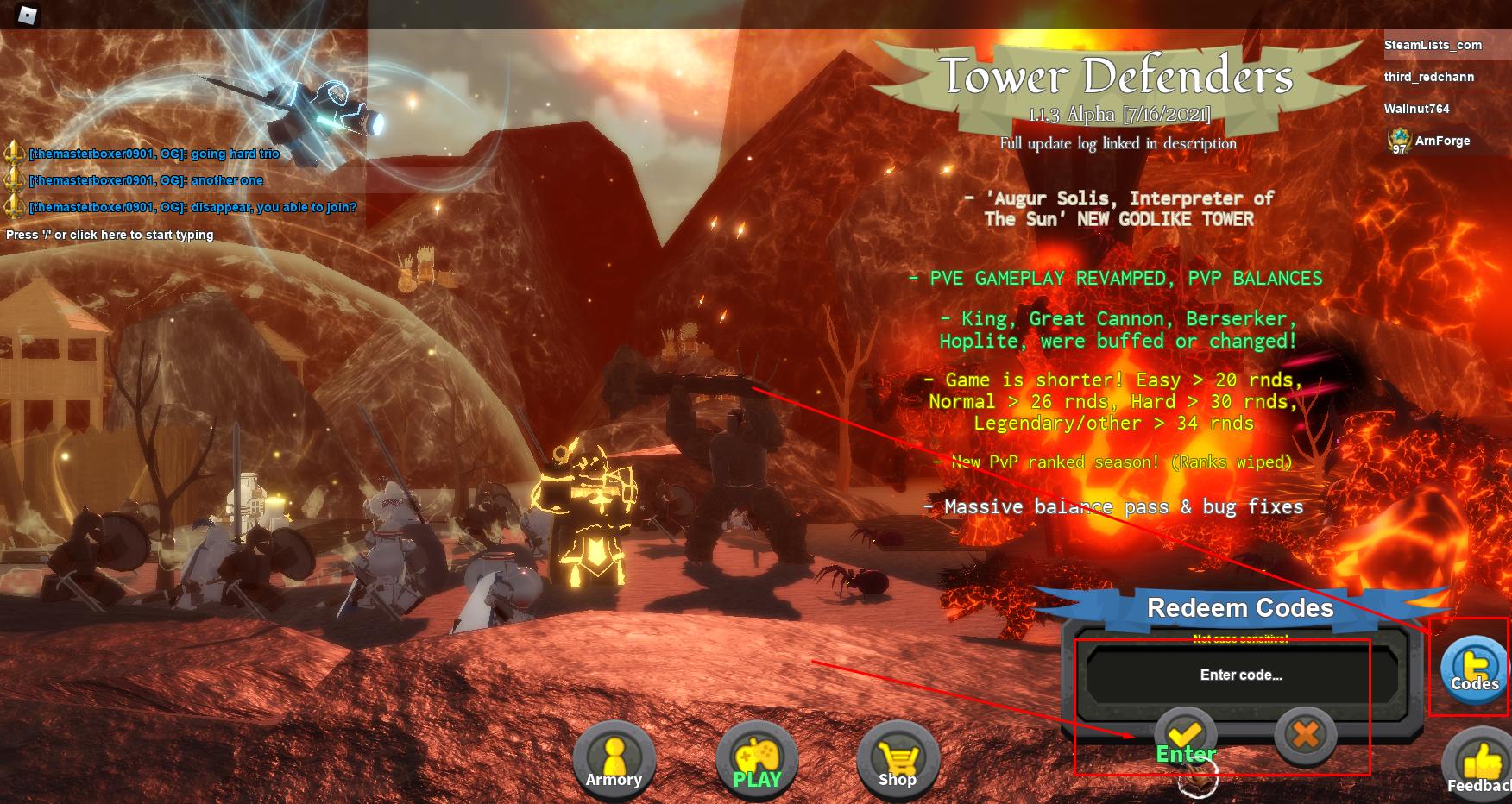 Roblox Tower Defenders Codes