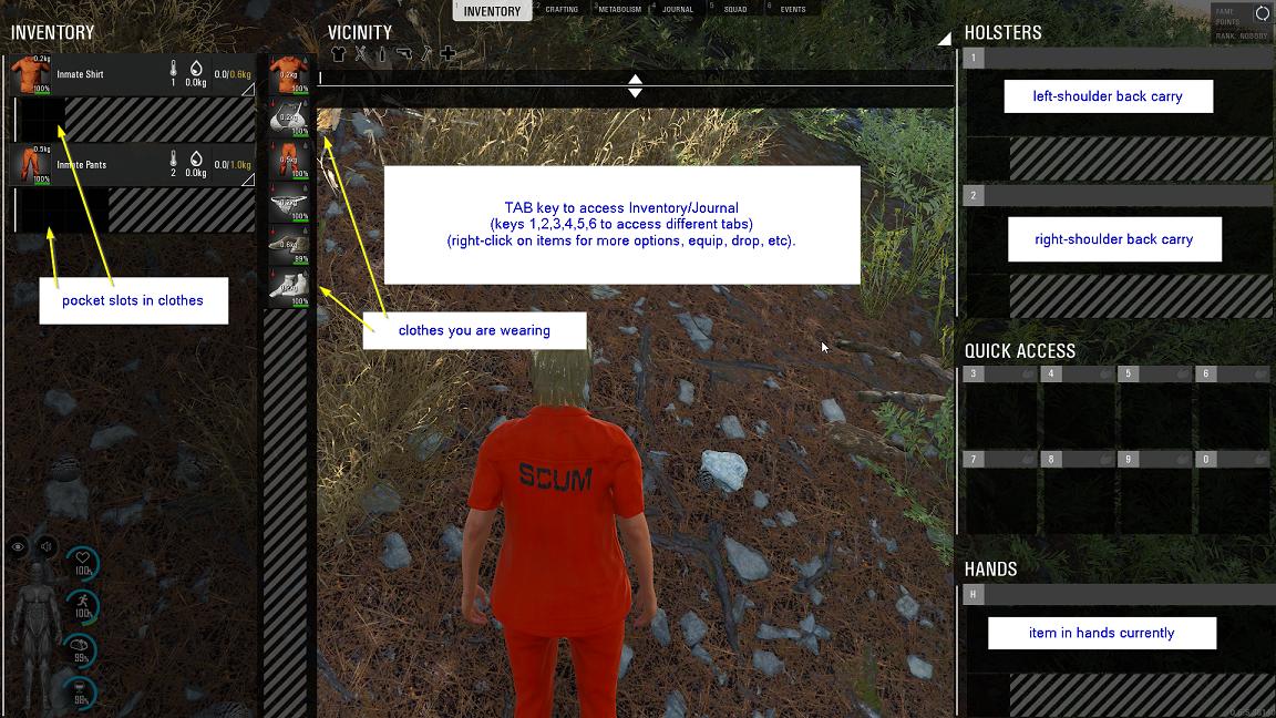 SCUM - Basic Gameplay Tutorial for Beginners - Quick Start to SCUM user interface - B888127