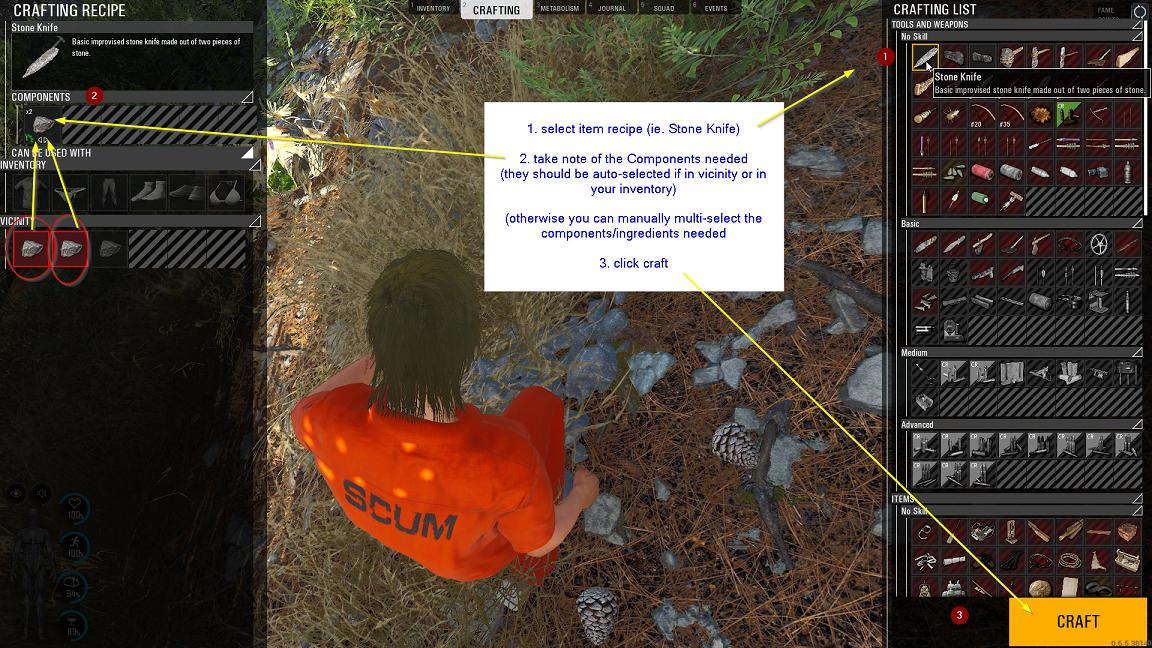 SCUM - Basic Gameplay Tutorial for Beginners - Quick Start to SCUM user interface - B8B8B3C