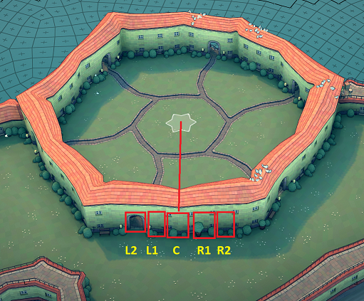 Townscaper - Steps How to Get Hexagram Wall in Garden Guide - Step 2: create medium circle path - C3BCFC6