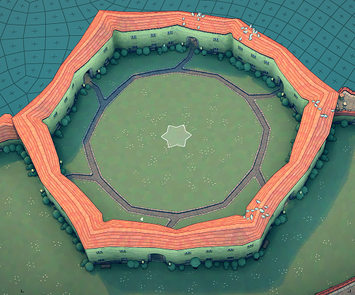 Townscaper - Steps How to Get Hexagram Wall in Garden Guide - Step 2: create medium circle path - D77E443