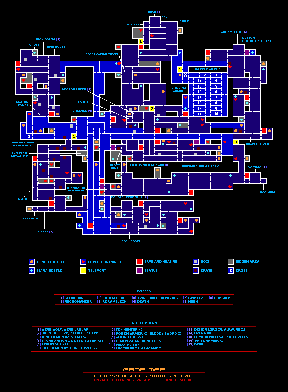 Castlevania Advance Collection - All Collectibles Locations Tips - Map Guide - Items & Bosses - 1571059