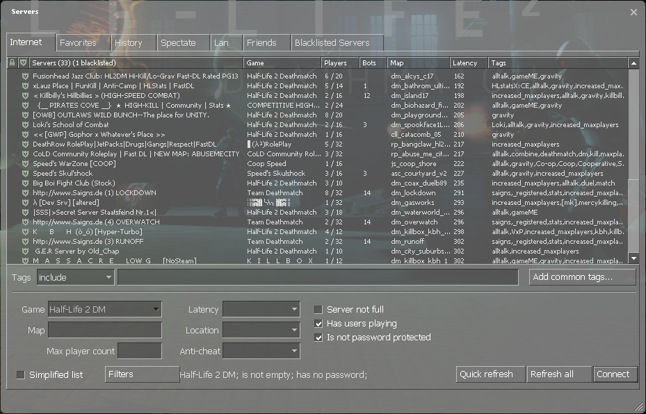 Half-Life 2: Deathmatch - Game Optimization + Config + Commands and Script - Joining a Game - 752336F
