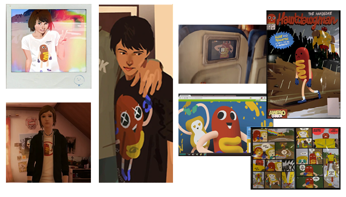 Life is Strange: True Colors - Guide to Easter Eggs in Game & Secrets - Hawt Dawg Man T-shirt + figure - 125A6F7