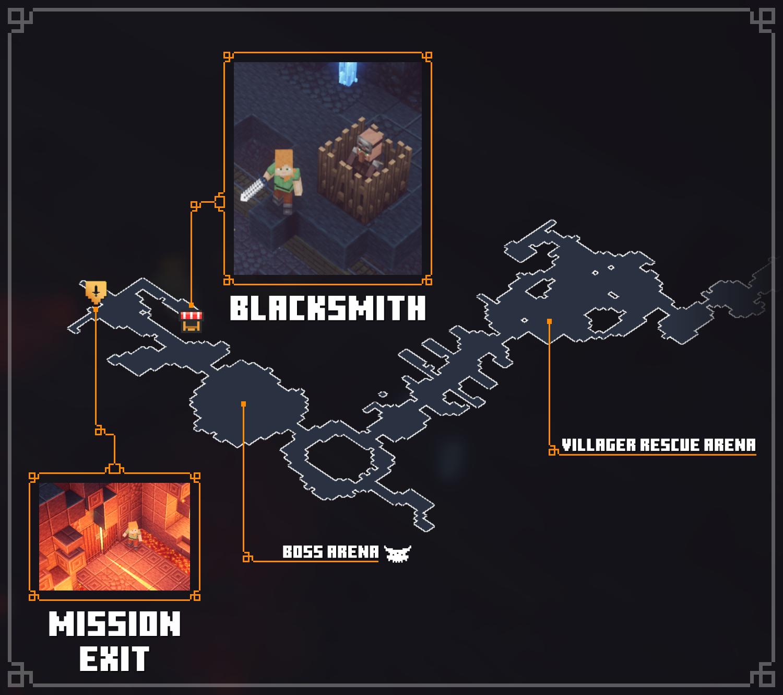 Minecraft Dungeons - Minecraft Dungeons - All Merchant Map Locations Tips + Walkthrough - Blacksmith - Redstone Mines - 627365E