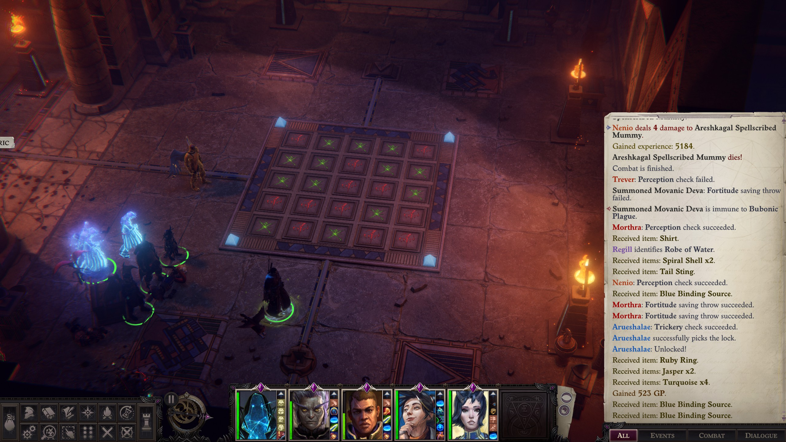 Pathfinder: Wrath of the Righteous - Puzzle Solution Tips for Enigma - Playthrough - Puzzle 1: Tic Tac Toe - 9196C52