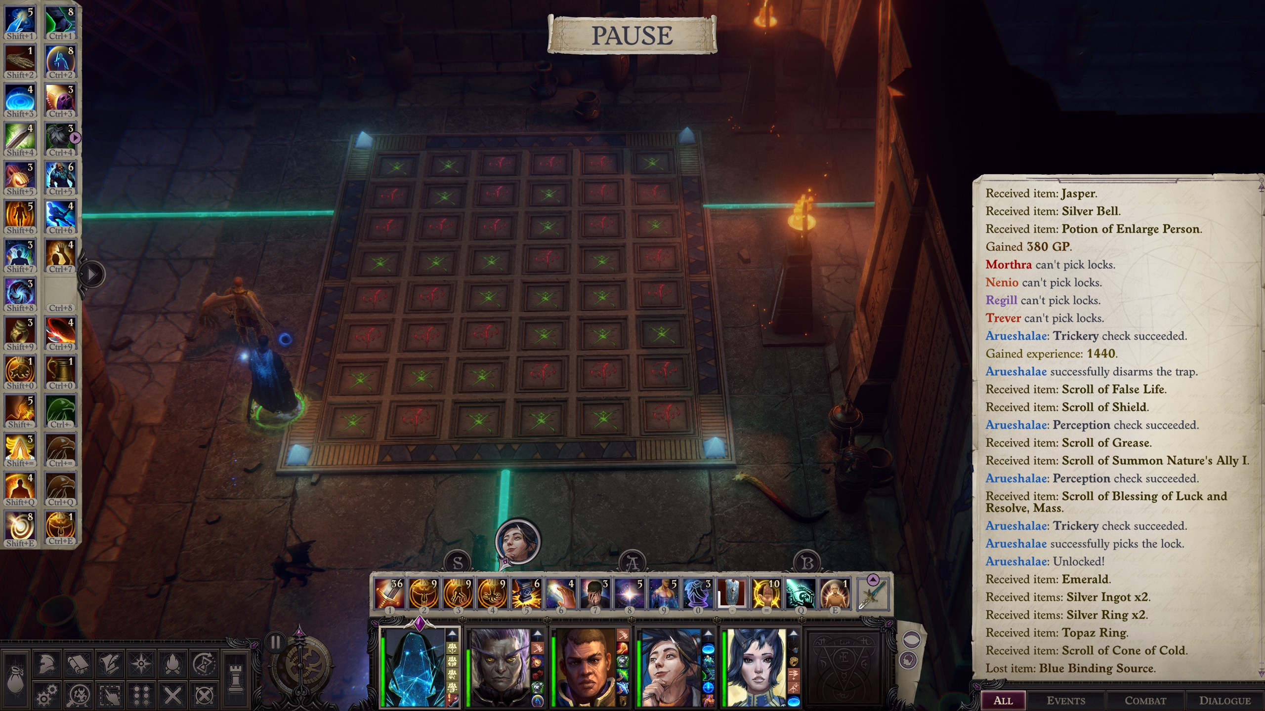 Pathfinder: Wrath of the Righteous - Puzzle Solution Tips for Enigma - Playthrough - Puzzle 1: Tic Tac Toe - BE340CA