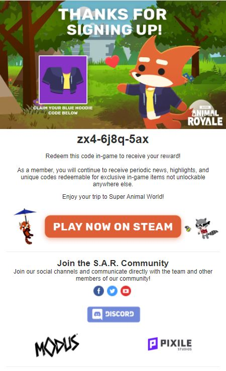 Super Animal Royale - How to Get Blue Hoodie in Game - English version | mail - C1C41F3