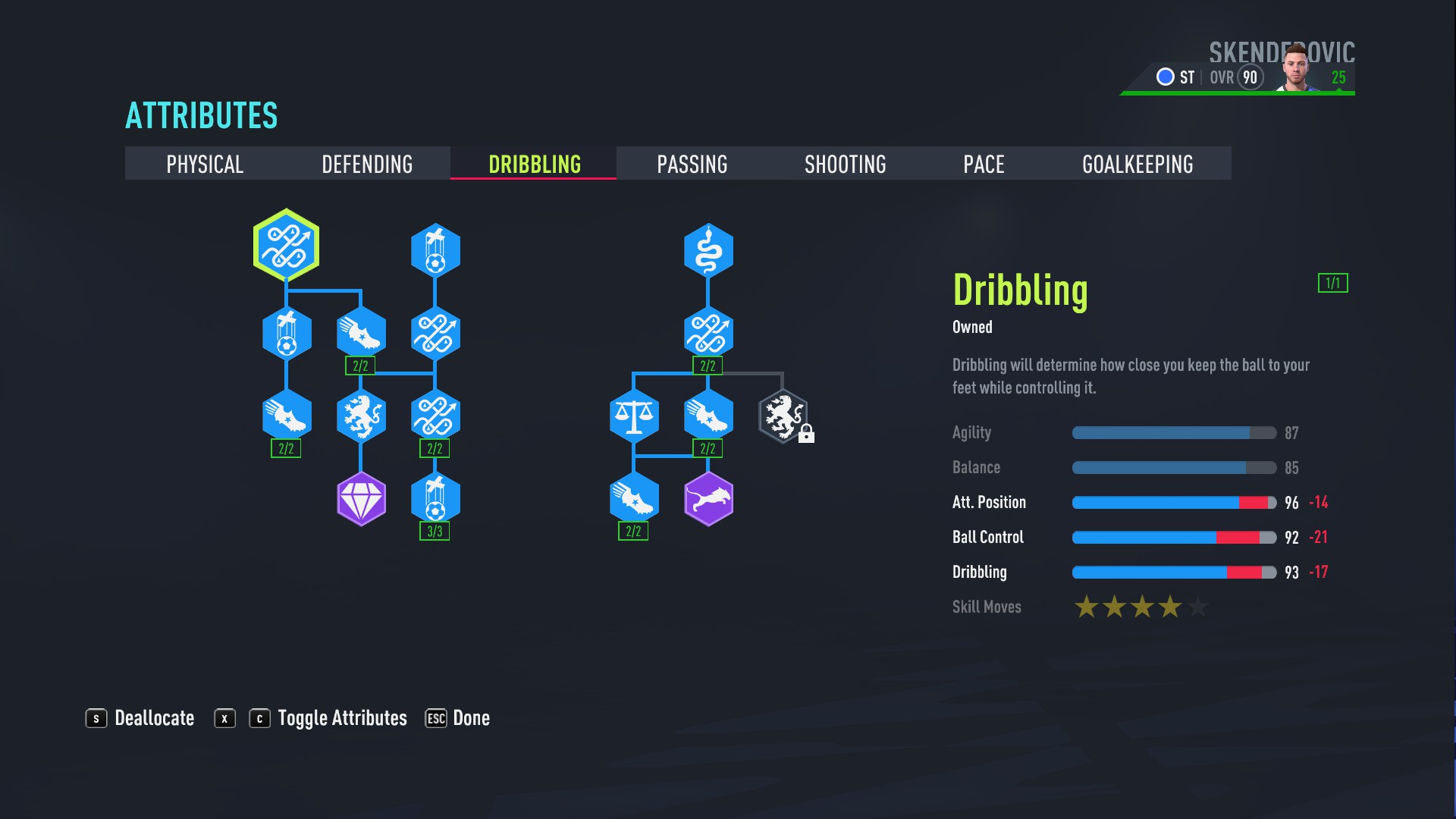 FIFA 22 - How to Reach 90 Rating in Fifa 22 Player Career Mode as a Striker Tips - Skill Points (Dribbling) - 3E27CF2