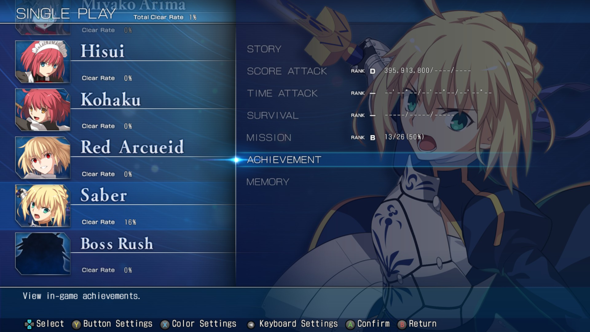 MELTY BLOOD: TYPE LUMINA - Complete All Achievements Guide - Single Play Mode - 36D610A