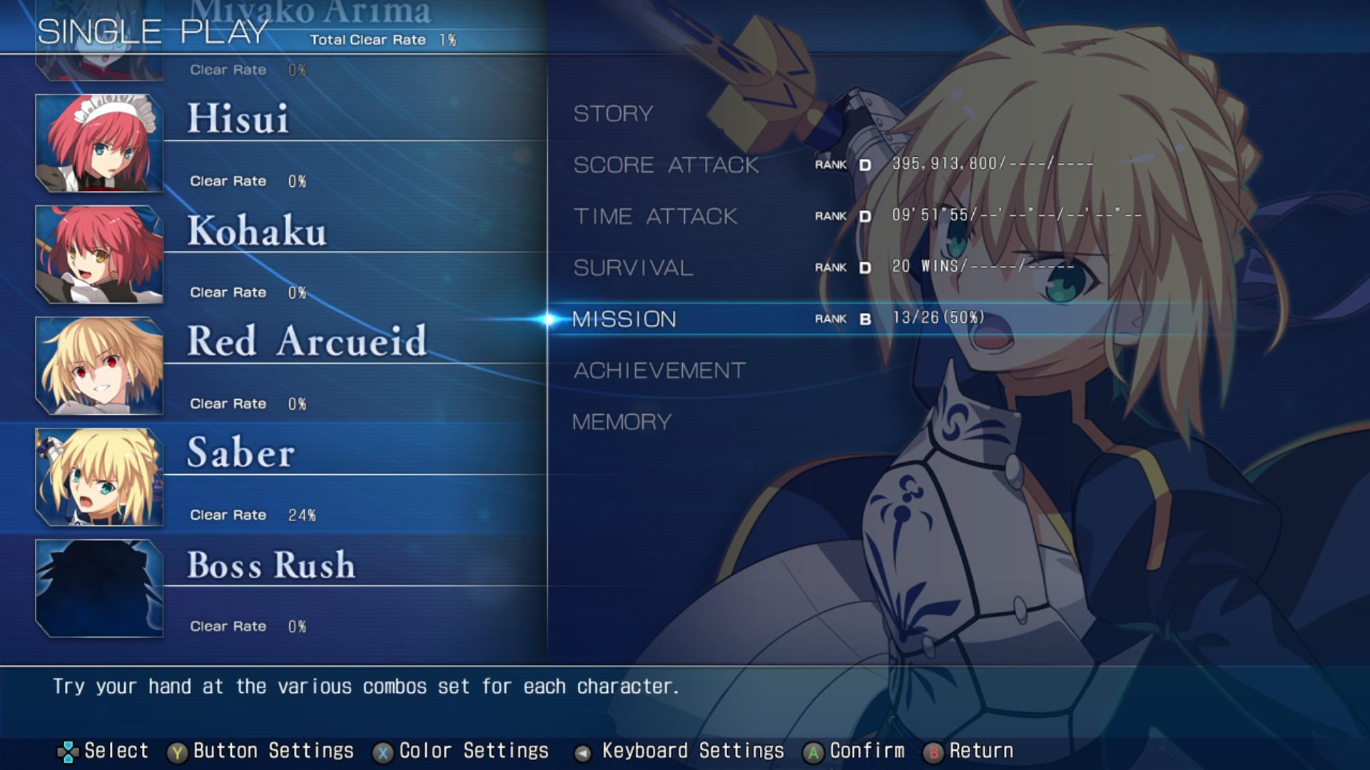 MELTY BLOOD: TYPE LUMINA - Complete All Achievements Guide - Training - B7D5A61
