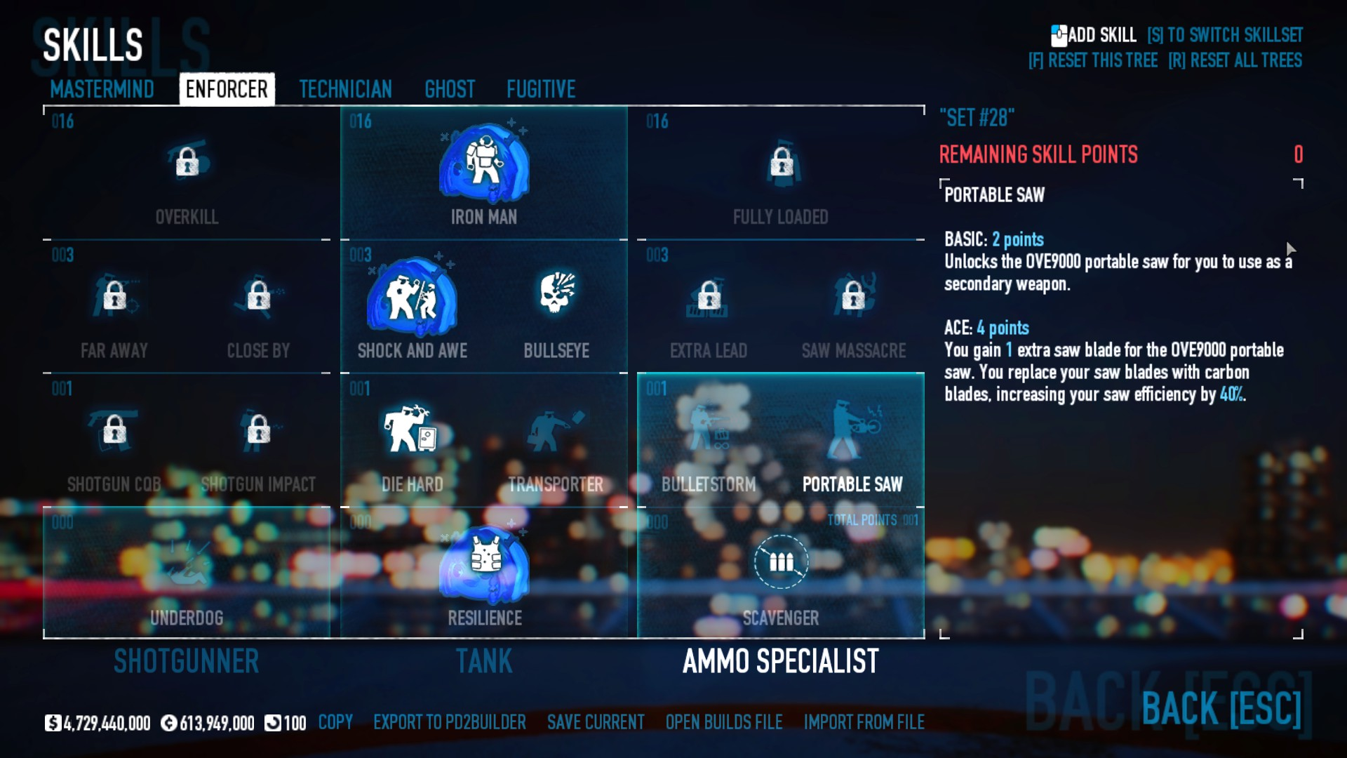 PAYDAY 2 - DSOD No DLC Build + Weapons Attachments & Class - Enforcer Skills - 9622B7D