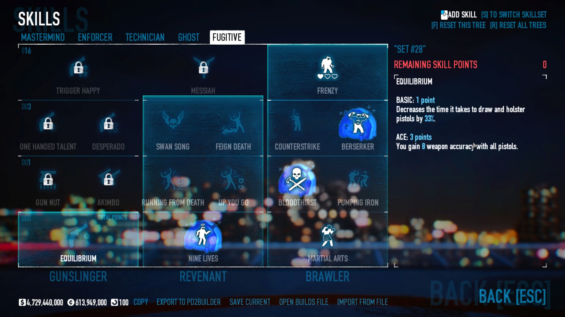 PAYDAY 2 - DSOD No DLC Build + Weapons Attachments & Class - Fugitive Skills - 34D712A