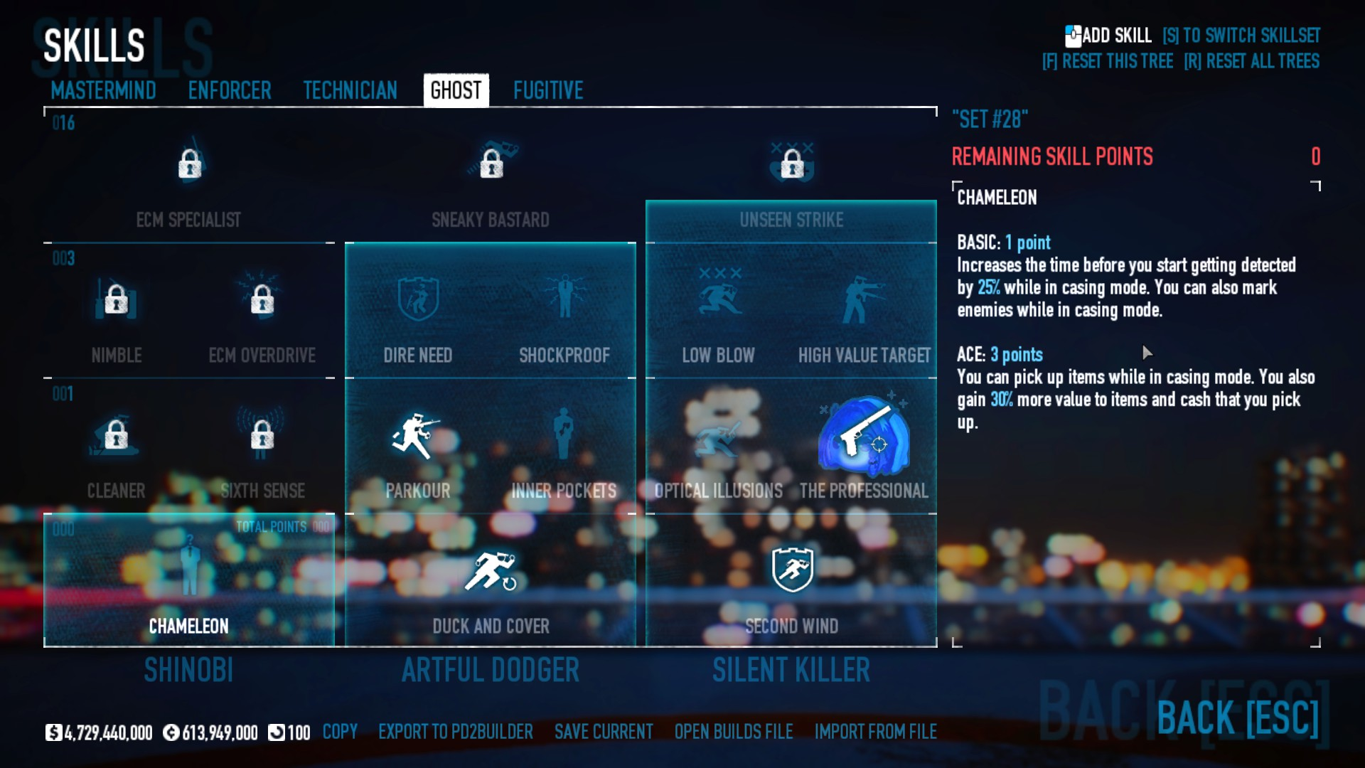 PAYDAY 2 - DSOD No DLC Build + Weapons Attachments & Class - Ghost Skills - 531B60E