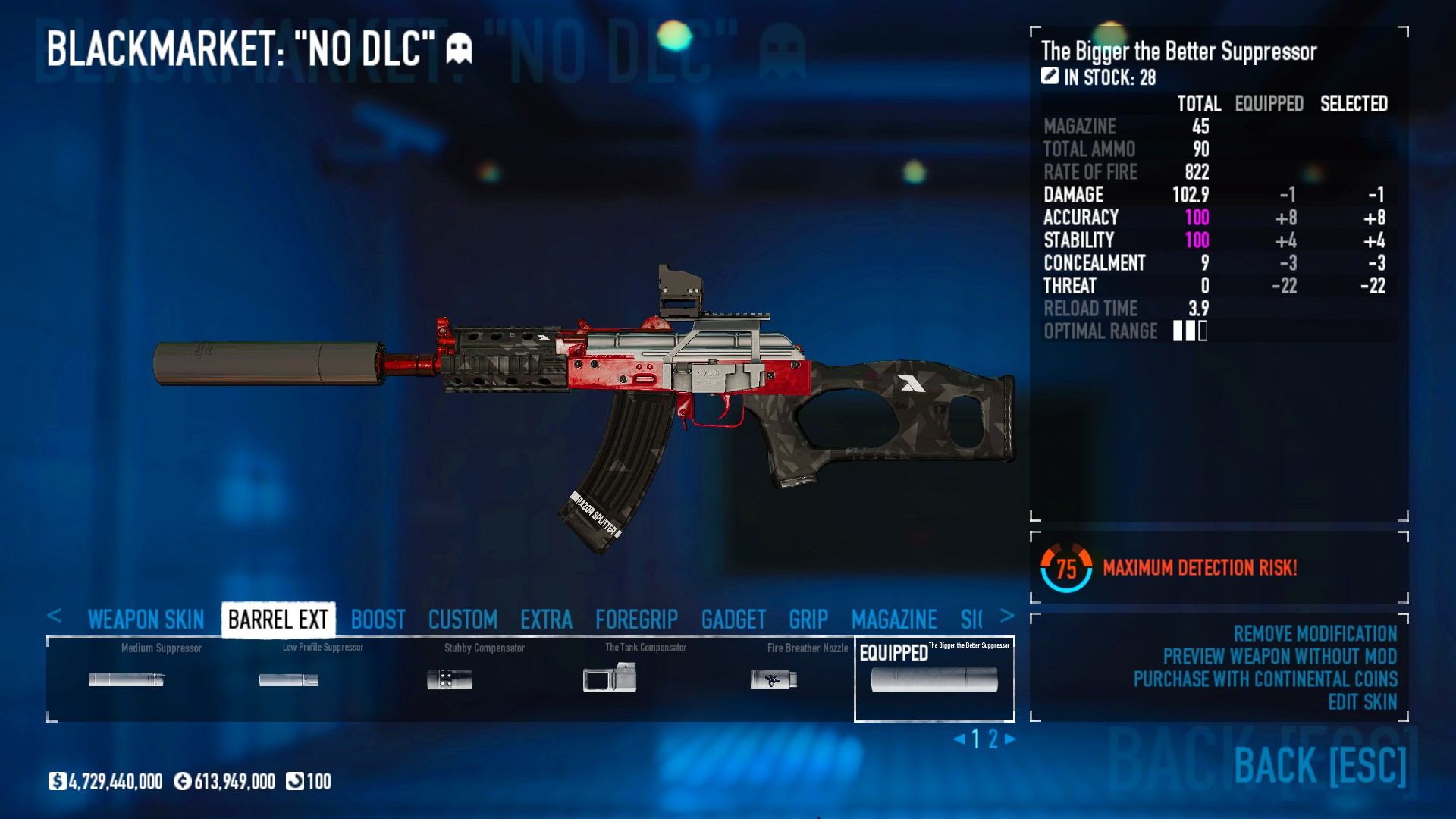 PAYDAY 2 - DSOD No DLC Build + Weapons Attachments & Class - Inventory and Weapons - 1BADD4E