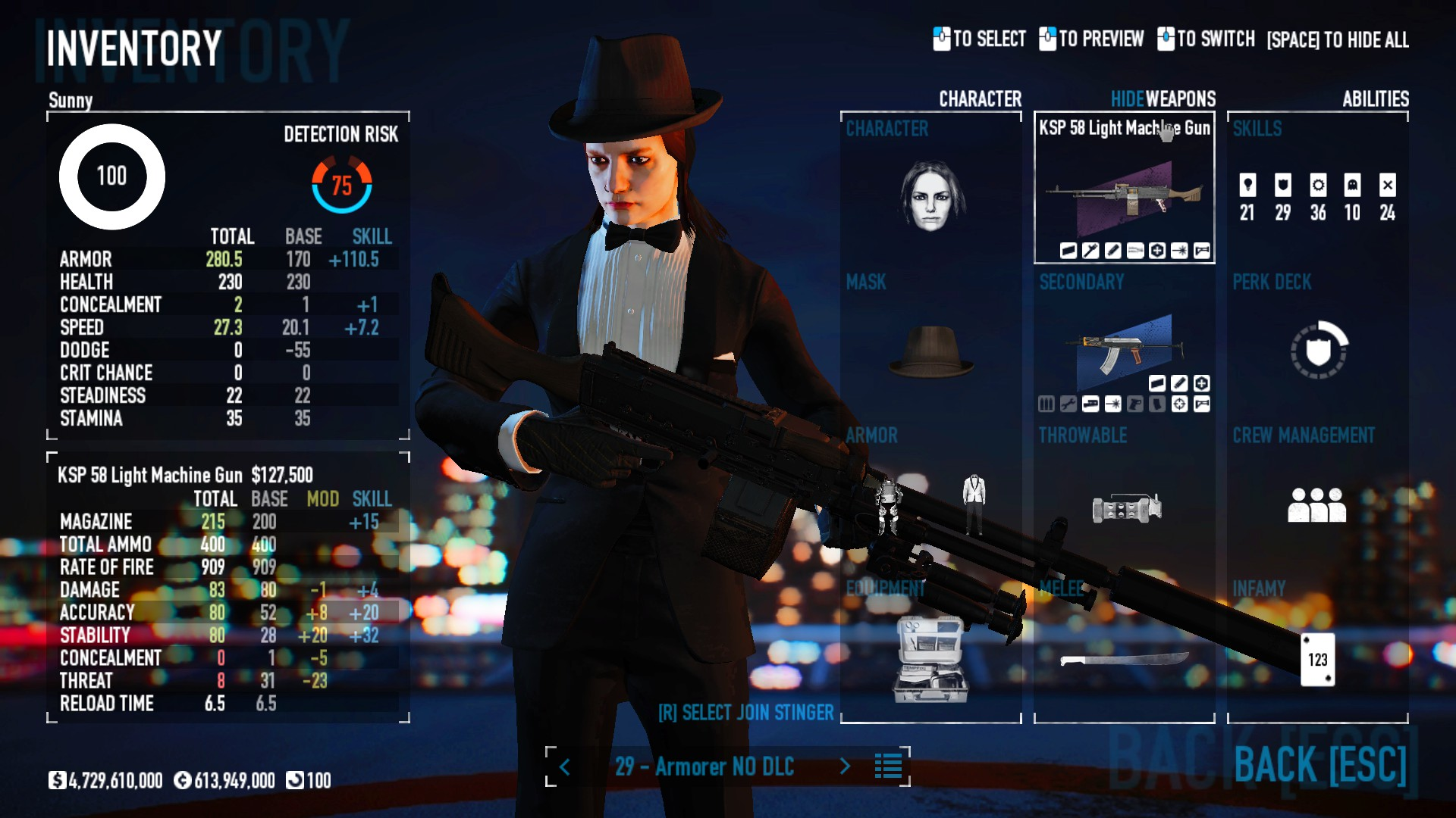 PAYDAY 2 - DSOD No DLC Build + Weapons Attachments & Class - Inventory and Weapons - BE3D500