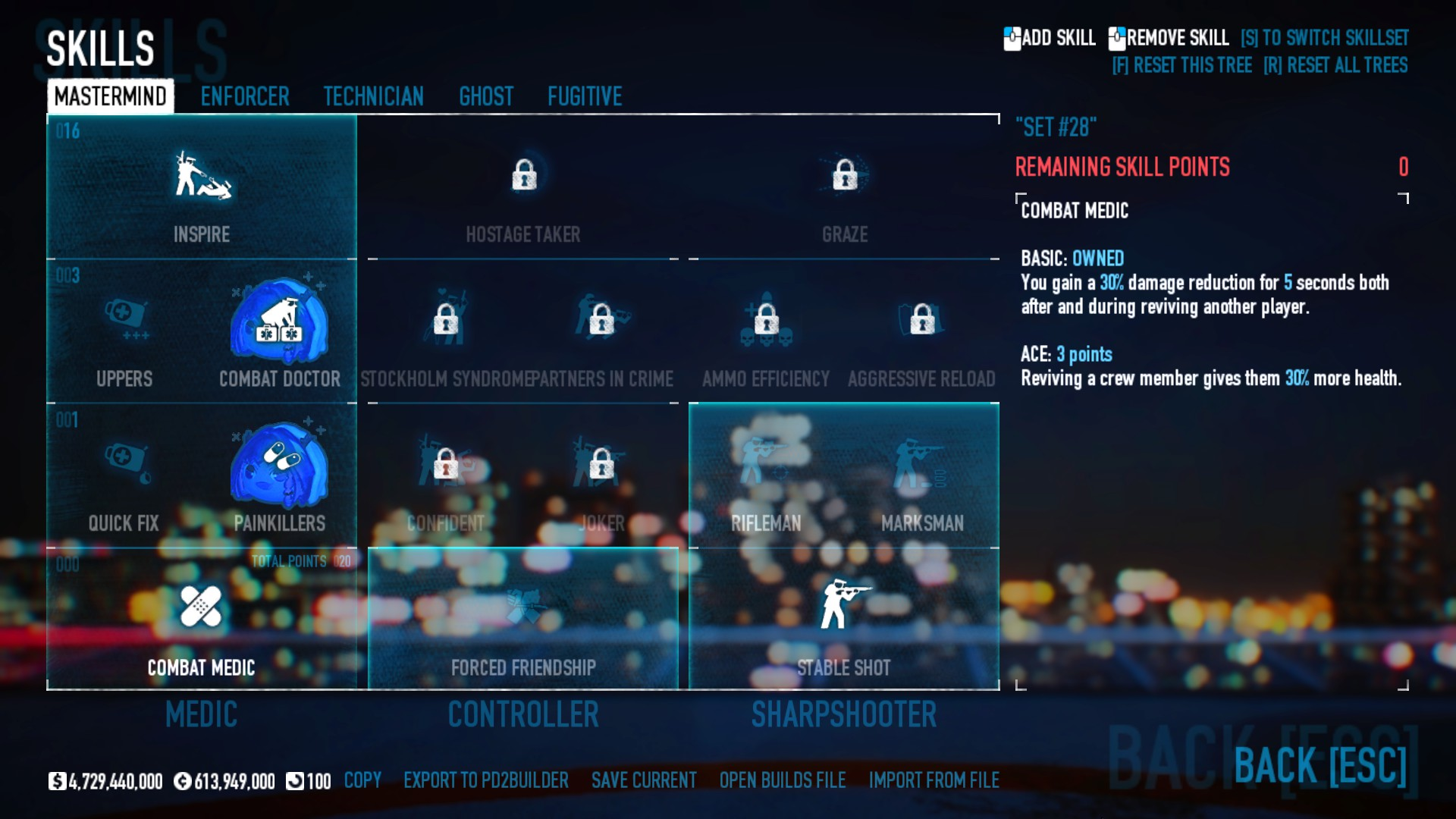 PAYDAY 2 - DSOD No DLC Build + Weapons Attachments & Class - Mastermind Skills - F0DDD14