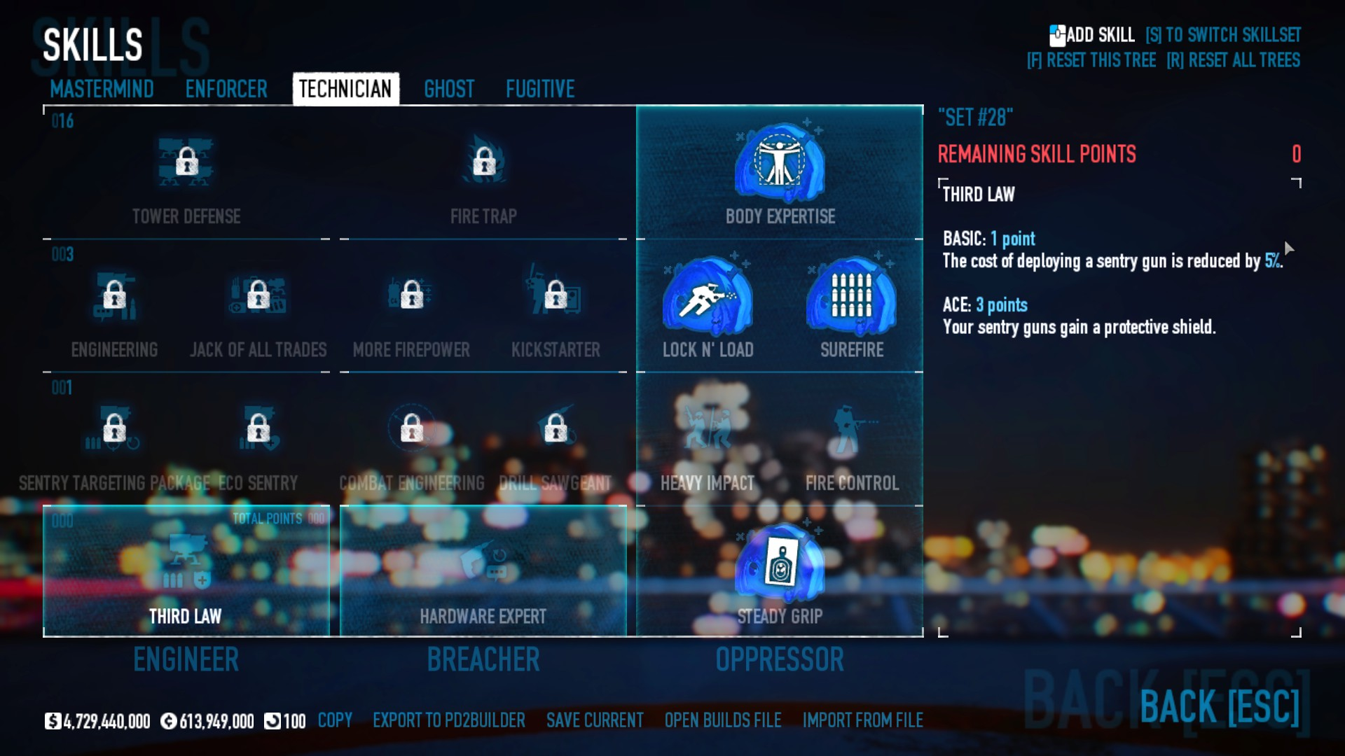 PAYDAY 2 - DSOD No DLC Build + Weapons Attachments & Class - Technician Skills - A2CD283